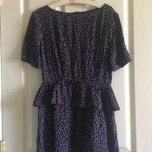 Karen Walker Navy Blue Polka Dot Dress w/ pockets